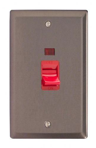 Varilight XR45N Classic Pewter 45A DP Cooker Switch Vertical Twin Plate + Neon